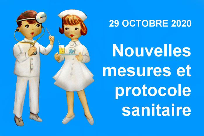 Nouvelles mesures et protocole sanitaire applicables depuis le 29 octobre 2020 minuit ?